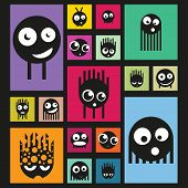 Set of funny monsters on bright background