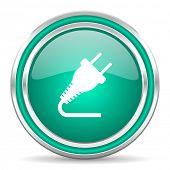 plug green glossy web icon