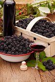 Ripe Blackberries In Bowl And Fruit Box