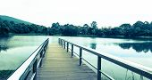 Stainless Steel Bridge Or Pier At Lake