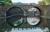 image of bridge  - Meganebashi (Spectacles Bridge) was built in Nagasaki in 1634. It
