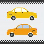 Vector graphic yellow taxi car flat design.