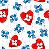 Постер, плакат: Голубой ангел любви с сердца бесшовные модели