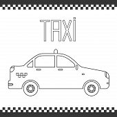 Vector graphic linear taxi car. Illustration. Background.