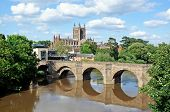Cathedral and river Wye, Hereford.