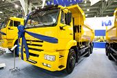 Moscow, Russia - August 28: Yellow Lorry Dump Car Kamaz At Moscow International Exhibition Interauto