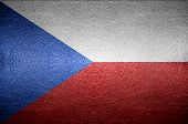 Closeup Screen Czech Flag Concept On Pvc Leather For Background