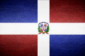 Closeup Screen Dominican Flag Concept On Pvc Leather For Background