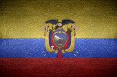 Closeup Screen Ecuador Flag Concept On Pvc Leather For Background