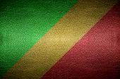 Closeup Screen Republic Of The Congo Flag Concept On Pvc Leather For Background