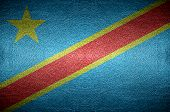 Closeup Screen Democratic Congo Flag Concept On Pvc Leather For Background