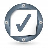 Dark Abstract Icon With Paper And Check Box