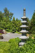 Wonderful Japanese Garden With A Temple Or Tibetan Stupa.