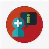 Medical information flat icon with long shadow