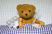 Sick Teddy Bear Lying in Bed