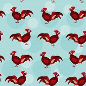 Seamless pattern with funny cute rooster bird on a blue backgrou