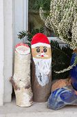 Natural Outdoor Christmas Decoration With Wood.