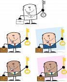Businessman Dude Cartoon Character 6  Collection Set