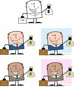 Businessman Dude Cartoon Character 4  Collection Set