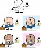 Businessman Dude Cartoon Character 4  Collection Set