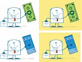 Businessman Dude Monochrome Cartoon Character 4. Collection Set