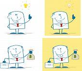 Businessman Dude Monochrome Cartoon Character 6. Collection Set