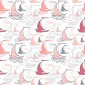 Seamless nautical pattern with sailing boats