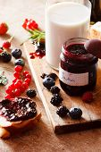 Berries jam on the table