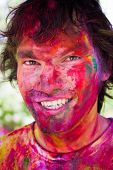 foto of holi  - European man celebrate festival Holi in Delhi - JPG