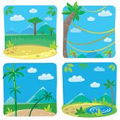Set of four funny simple nature background.