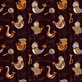 Cartoon Jazz Orchestra Concept Wallpaper. Birds Sing And Dancing. Seamless Pattern Can Be Used For W
