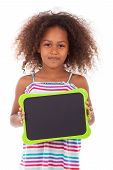 African American School Girl Holding A Blank Black Board - Black People