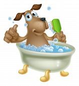 picture of bubble-bath  - An illustration of a cute cartoon dog mascot character having a bath in a bubble bath with back scrubber - JPG