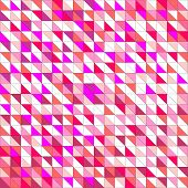 Tile vector pattern with white, red, orange, pink and violet triangle mosaic background