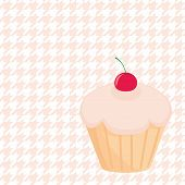 Cherry vector cupcake on white polka dots pink houndstooth background