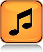 Yellow square icon music tunes with reflection