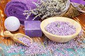 Lavender Spa.Spa salt, lavender, foaming bath bomb and soap