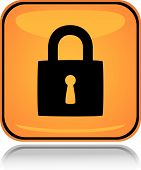Yellow square icon locked padlock with reflection