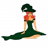 Halloween Banner .the Beautiful Girl, The Witch In Green  Dress. Vector