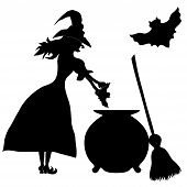 Halloween Banner .the Witch Enda Sweeper. Vector Illustration
