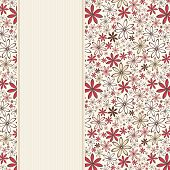 Invitation card with red and beige flowers. Vector illustration.