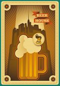 Vintage beer poster design. Vector illustration.