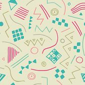 Vector Seamless Texture With Geometrical Shapes. Endless Pastel Background. Vector Backdrop.
