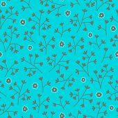 Seamless Floral Pattern With Small Flowers. Floral Pattern. Endless Bright Blue Background.