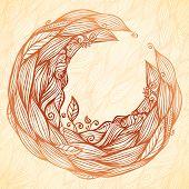 Vintage doodle leaves ornate circle frame