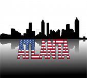 Atlanta skyline reflected with American flag text vector illustration