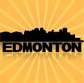 Edmonton skyline reflected with sunburst vector illustration