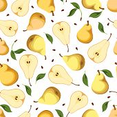 Seamless background with pears. Vector illustration.