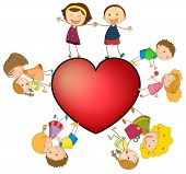 Illustration of children around a heart