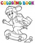 Coloring book school boy theme 1 - eps10 vector illustration.